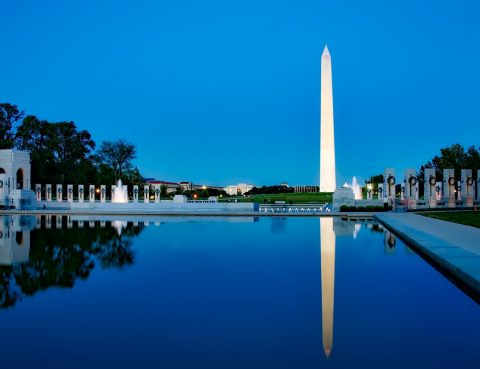 Washington, DC memorial skyline